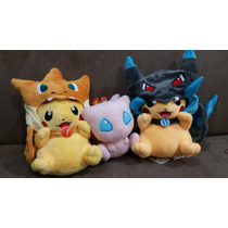 2 Peluche Pokemon Pikachu Disfrazados Charizard 25cm Y Mew