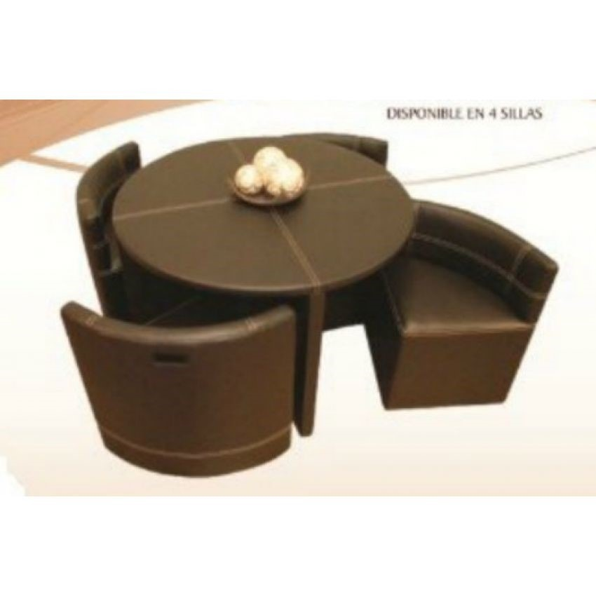 Antecomedor roma vinipiel 4 sillas redondo vinil 4 005 for Comedor redondo de madera 4 sillas