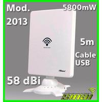 Antena Auditoria Wifi Usb Exterior 5m Cable Usb 6800mw 58dbi