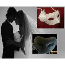 Antifaz Novia,novios,boda, Antifaz Negro Y Blanco,fiesta