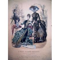 Collage Sobre Litografía Antigua De 1888 La Moda Elegante