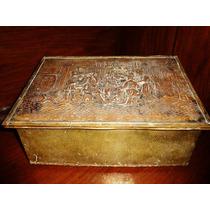 Reliquia Antigua Caja Inglesa Cofre De Madera Forrado Metal