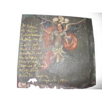 Pintura Ex-voto En Lámina, Antigua, Para San Miguel, De 1914
