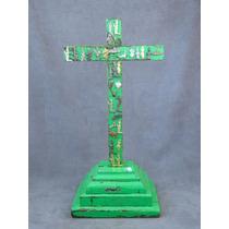 Cruz Antigua Labrada En Madera De Pino Con Milagros Ca. 1900