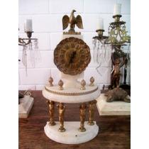 Antiguo Reloj Imperial Bronce Mármol Cuerda Funcionando Hm4
