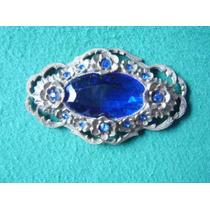 Broche Antiguo En Pasta Dorada Con Piedras Azules