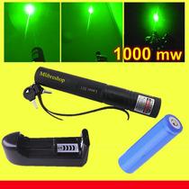 Apuntador Laser Verde 1000mw Recargable Con Llave De Bloqueo