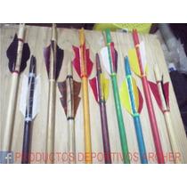 Flechas De Madera Con Punta De Aluminio De 60cm