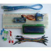 Arduino Nano+usb+servo+lcd+proto+cables+leds Atmega328