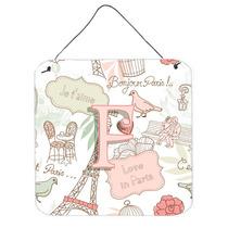 Letra F Amor En París Pink Pared O Puerta Colgando Impresio