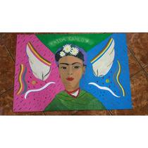 Pintura Retrato Frida Kalho Arte Decoración A Mano Original
