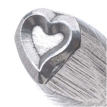 Sello Curvo De Corazón Para Estampar Metal 1/4 Plg. 6mm (1)