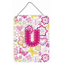 Letra U Flores Y Mariposas Pared De Color Rosa O Puerta Colg