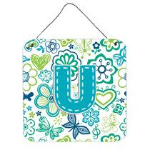 Letra U Flores Y Mariposas Azul Del Trullo Pared O Puerta Co