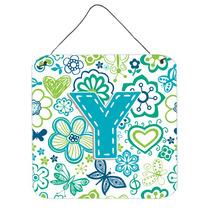 Letra Y Flores Y Mariposas Azul Del Trullo Pared O Puerta Co