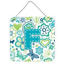 Letra F Flores Y Mariposas Del Trullo Azul De La Pared O Pue