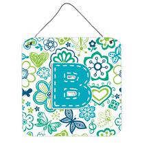 Letra B Flores Y Mariposas Del Trullo Azul De La Pared O Pue