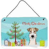 Árbol De Navidad Y Cabelludo Del Alambre Fox Terrier De Par