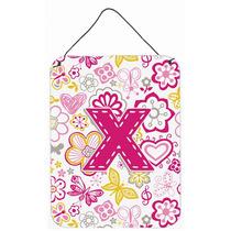 Letra X Flores Y Mariposas Pared De Color Rosa O Puerta Colg