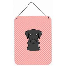 Tablero De Damas Rosado Negro Labrador Pared O Puerta Colgan