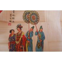 Plato Oriental De Madera Decorativo Bambu China Vintage Asia