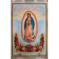 Virgen De Guadalupe Estandarte Bordado Fino Manto Azul