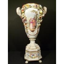 Hermoso Florero Porcelana Siglo Xix Dresden, Alemana