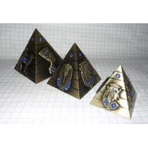 Set De 3 Piramides De Egipto Metal Oro Viejo 6.5 Cm Giza