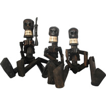Calaveras Y Diablos Tallados En Madera / Lápices / Figuras