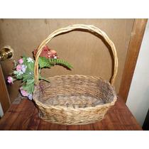Canasta Tejida Con Flores Para Decoracion Ancho 35 X Alto 42