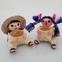 Artesanía Mexicana Par De Inditos Con Cesto