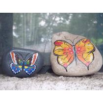 Adorno Pisapapeles De Piedra Pintado De Mariposas