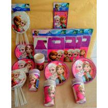 Paquete Plus Fiesta Ana Y Elsa De Frozen, Desechables Fiesta