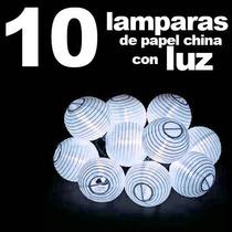10 Lampara Pantalla De Papel China Con Luz Led Decoración Ev
