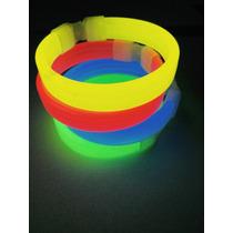 10 Pulsera De Luz Neon Glowparty Pusera Cyalume Plana Color