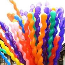 100 Globos Espiral Salchicha,batucada,fiestas,hielo Led