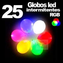 25 Globos Con Luz Led Multicolor Rgb Intermitentes Fiestas E