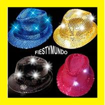 Sombrero Luminoso Led Fedora Fiesta Disfraz Gorra Con Luz