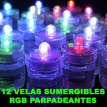 12 Velas Sumergibles Rgb Parpadeantes Bodas Xv Años Evento