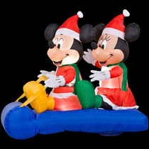 Inflable Iluminable De Navidad Mickey Y Minnie Mouse