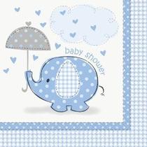 Ducha Azul Del Bebé Del Elefante Almuerzo Servilletas 16ct