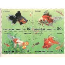 Peces Japoneses 4 Estampillas Hojita Souvenir Dmm
