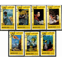 1334 Pinturas Famosas South Arabia 7 Sellos Cto N H 1974
