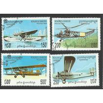 Estampillas De Camboya Aviones Y Biplanos Antiguos