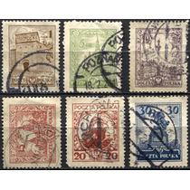 2909 Polonia Castillos Scott #227 6 S Usados L H 1925-27