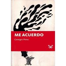 Me Acuerdo Georges Perec Libro Digital