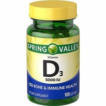 Envio Inmediato Spring Valley Vitamina D3 5000 Iu 100 Pzs