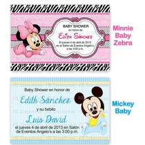 Invitaciones Baby Shower Bautizo Minnie Mickey Hello Kitty