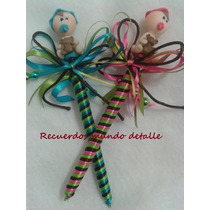 Plumas Decoradas Con Bebes, Recuerditos Baby Shower Bautizo
