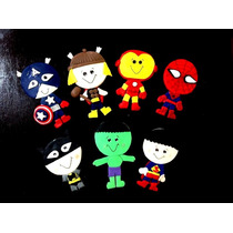 Recuerdito Super Heroes En Pasta Avengers Para Centro De Mes